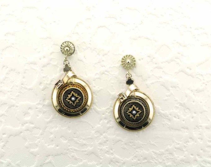 Round Victorian Drop Earrings 14 Karat Yellow Rolled Gold Plate Black Enamel and Seed Pearl Pierced Earrings with Buckle Motif