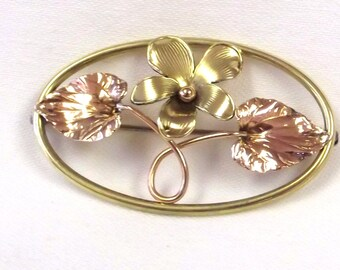 Vintage Tri Color Metal Flower Pin - Krementz Diana Brooch - Designer Flower Jewelry - Jewelry Gift For Her