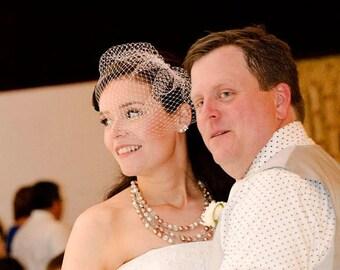 Blush Veil, Blush Birdcage Veil, Peach Blush Birdcage Veil, Peach Veil, Blush Wedding Veil, Bridal Veil, Bride's Veil, White Ivory Pink Veil