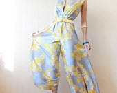 Pure silk blue yellow floral print wide leg palazzo maxi romper dress jumpsuit