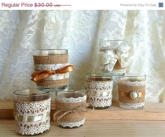 burlap wedding decorations for sale 6 burlap and lace covered votive tea candles country by 2147