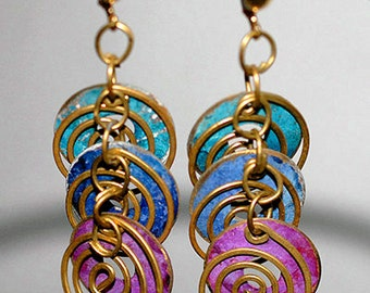 Repurposed Upcycled Teal Blue Purple Circle Spiral Brass Dangle Earrings