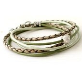 Leather Wrap Bracelet - Forest green, Woodland Brown & Mint Leather Wrap Bracelet - Gift For Her