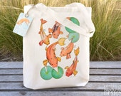 Koi Carp Fair Trade Tote Bag, Reusable Shopper Bag, Cotton Tote, Shopping Bag, Eco Tote Bag