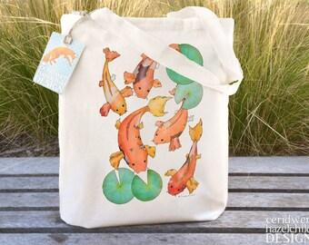 Koi Carp Tote Bag, Ethically Produced Reusable Shopper Bag, Cotton Tote, Shopping Bag, Eco Tote Bag
