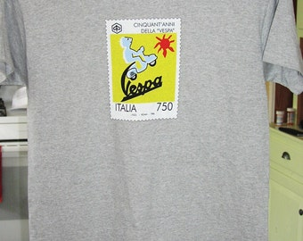 VESPA T-SHIRT 50th anniversary Italia scooter postage stamp Anni 1996 Roma club