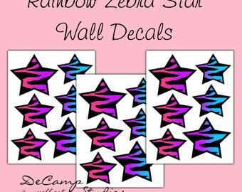 RAINBOW ZEBRA STAR Wall Decals Teen Girls Room Decor Baby Nursery Childrens Bedroom Kids Room Animal Print Abstract Modern Art Stickers