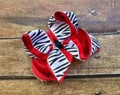 Zebra Hair bow Girls hair bows Red Black Zebra Boutique Hair bow