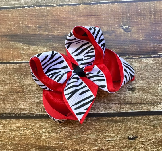 Red Zebra Hair Bows 78
