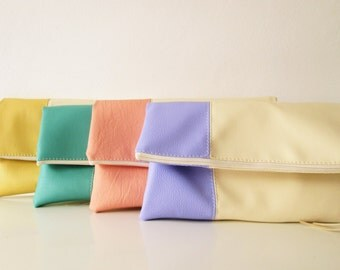 Set of Bridesmaids clutches, Ivory clutch bags, Fold over purse, Ivory, Cream, Gift, Wedding gift, Bridesmaids gift
