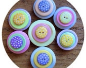 Pastel, polka dot, fridge, memo, button magnets - set of 7