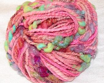 Handspun Bulky Textured Art Yarn- Rosewater Galaxy