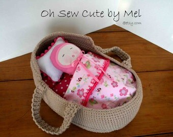 Hand Crochet Moses Basket with Bedding and Baby, Moses Basket, Soft Baby, Moses Basket with Bedding,