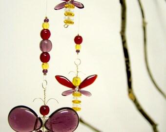 Birthday Gift Swarovski Crystal Suncatcher Purple Butterfly Mobile Childrens Hanging Mobile Red Fairy Mobile Window Charm Girl Mobile Decor