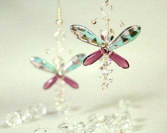 Swarovski Crystal Purple Butterfly Earrings Fairy Earrings Butterfly Jewelry Whimsical Quirky Wedding Accessories Angel Jewelry Girls Gift