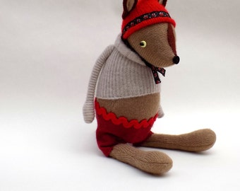 SALE  -  Woodland Creature  -  Handmade plush sculpture wearing cashmere pullover and felt shorts.