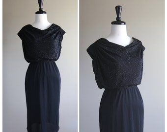 Gorgeous Glam Vintage 1970s Black Shimmer Evening Dress / 1980s