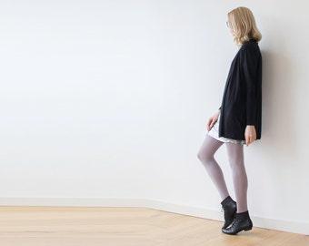 Knitted black short cardigan, Knit winter coatigan