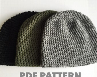 Pattern Mens Easy Hat Crochet Beanie Seamless Simple Basic Classic Crochet Hat