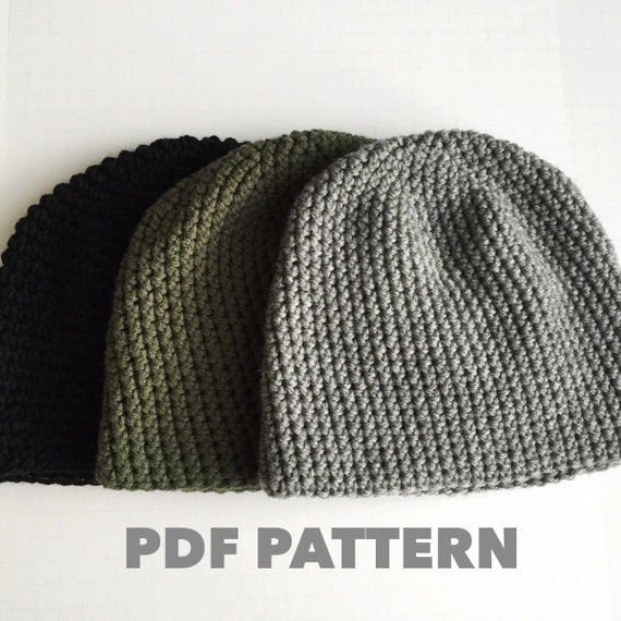 Crochet Hat Patterns Beanie : Pattern Mens Easy Hat Crochet Beanie Seamless Simple Basic
