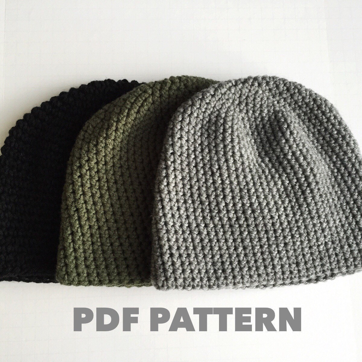 Simple Beanie Hat Knitting Pattern : Pattern Mens Easy Hat Crochet Beanie Seamless Simple Basic