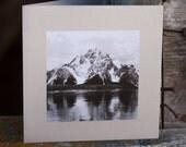 Mount Moran, Teton Mountains, Jackson Lake, Wyoming, Greeting Card, Handmade, B&W