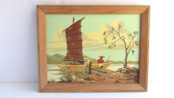 Vintage Nautical Wall Decor: Vintage Framed Paint By Number Asian Nautical Landscape Wall