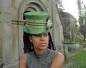 Straw Hats- Mad Hatter/Top Hat-Steampunk-New Hand Blocked- Kentucky Derby Hat w/Brim Ostrich Plume-Mesh Wire Ribbon Trim