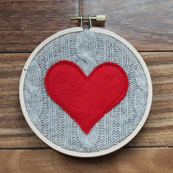 Red heart hoop upcycled sweater art embroidery