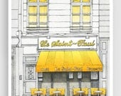 Le Saint Paul - Paris illustration Art Illustration Print Poster Paris Art Prints Paris decor Home decor Architectural drawing Cafe Yellow