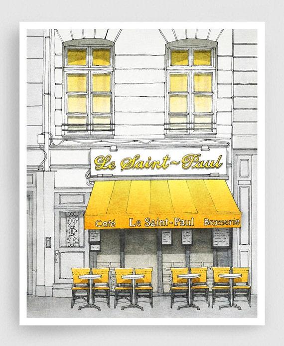 Le Saint Paul - Paris illustration Art Illustration Print Poster Paris Art Prints Paris decor Home decor Architectural drawing Cafe Yellow