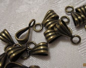 9x5mm, Pendant Bails, Antiqued Gold-Plated Brass, Ribbed Pattern, Closed Loop - 10 Bails or, choose a Larger Pkg from the 'Options' menu
