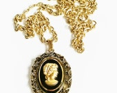 Cameo Necklace, Gold Tone Cameo, Black and Gold, Lady Silhouette, Vintage Victorian, Costume Jewelry