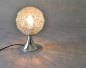 Vintage bubble desk lamp orange silver German space age atomic Mid-Century 60s 70s
