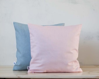 Rose quartz and serenity pillow- decorative pillow cover - trending cushion case - pale pink cushion - trending pink pillow cover   0369