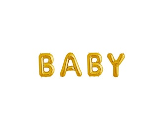 """16"""" BABY Balloon Banner, Mylar Balloon Banner, 16"""" Letter Balloons, Baby Shower Decorations, Gold Baby Shower, Baby Girl, Gold Letters"""