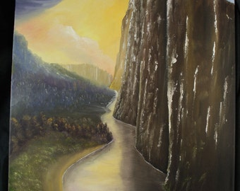 Original Oil Painting by Set Balise: Cliffs like Dark Teeth