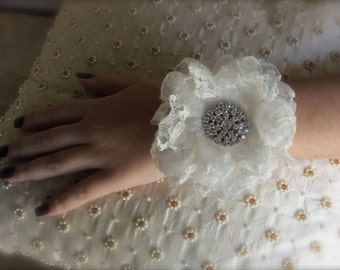 cuff white  handmade flower wrist corsage custom corsage for wedding or prom mother of the bride