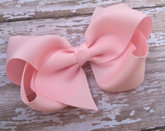 Adorable baby pink boutique hair bow - baby pink boutique bow, pink bow