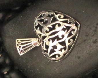 Sterling Silver .925 Heart Pendant with Pretty Carved Detail
