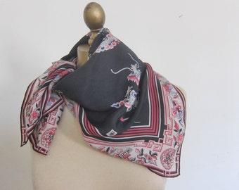 silk scarf, vintage scarf, Anne Klein  square silk scarf, oriental design, designer scarf,ladies neck scarf, hair wrap