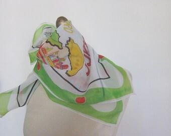 Trinidad and Tobago vintage scarf, travel scarf, souvenir scarves, funky hairscarf