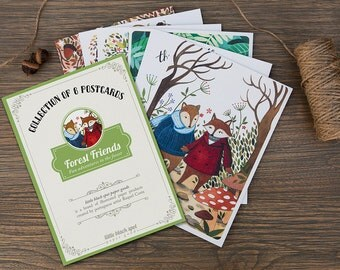 Forest Friends - 6 postcard collection