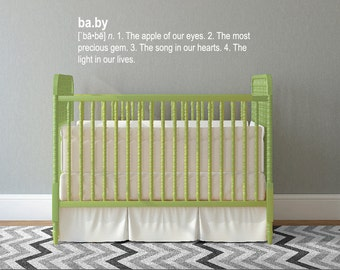 Definition of Baby - Nursery Quote Wall Decal  Custom Vinyl Art Stickers for Nurseries