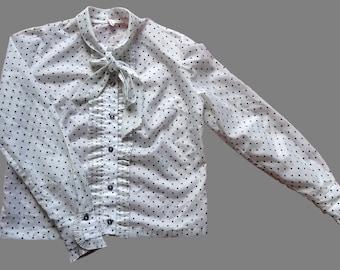Vintage 80's Polka Dot Blouse UK 16