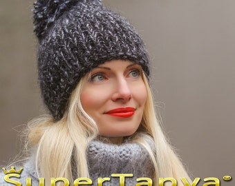 Made to order ski hand knit hat with pom pom, thick and fuzzy mohair cap in black gray by SuperTanya