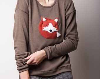 fox sweater, womens sweaters, sweatshirts, regular fit sweater, animal sweater, womens clothes, appliqued sweater, gift for her, fox clothes
