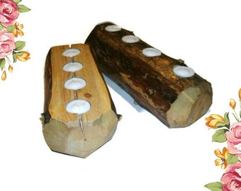 Set of Two Rustic Wooden Candle Holder Logs - Tealight Holders