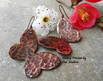 Butterfly Earrings, Copper Earrings, Dangle Earrings, Butterfly Jewelry, Butterfly Dangle Earrings, Handmade Earrings, Ready to Ship