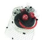 SALE!! 15% off original price - Veiled Black Satin Animal Print Red Apples Pillbox Headpiece Hat